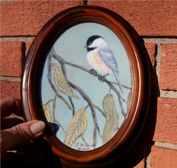 Framed Oval Chickadee Print 5 X 7 Inches
