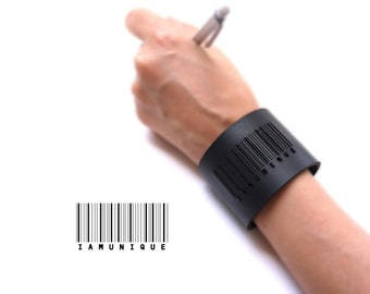 black leather cuff bracelet - Barcode Cuff in Black Leather with Snaps: IAMUNIQUE - modern design, laser cut