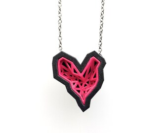 heart geometric pendant - Rock Heart Pendant in Pink Sapphire and Black. 3d printed. modern jewelry. fashion gifts