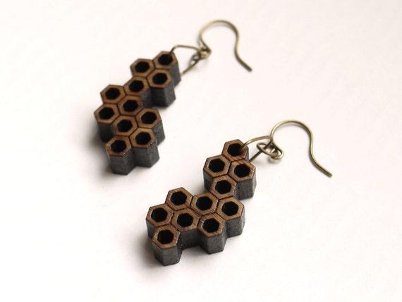 eco friendly geometric wood earrings - Bamboo Hexagon Cluster Earrings.  modern minimalist jewelry, fashion gifts