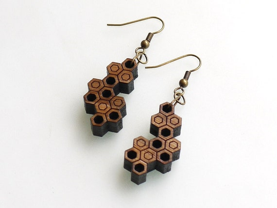 geometric wood jewelry - Bamboo Hexagon Cluster Earrings - Semi-Filled.  natural bamboo,  modern eco fashion gifts
