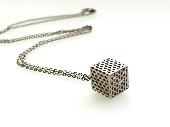 stainless steel pendant - Perforated Honeycomb Cube in Stainless Steel, Small. modern jewelry 3d printed industrial