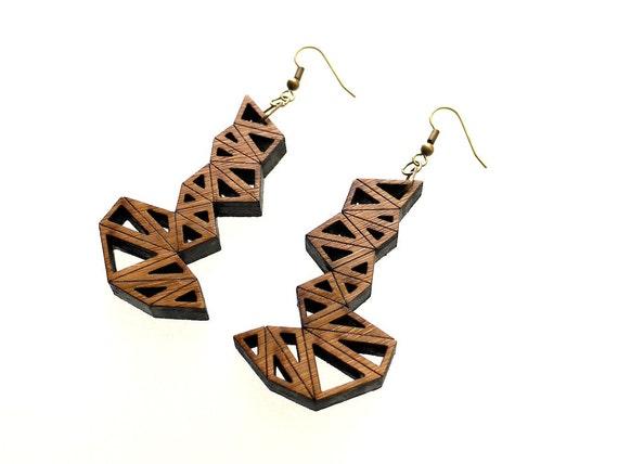 wood jewelry eco friendly modern jewelry, geometric - Bamboo Triangle Cluster Earrings Large. laser cut, summer earrings