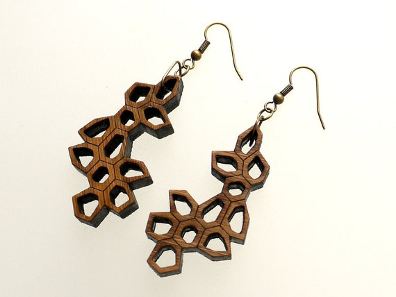eco friendly geometric earrings - Bamboo Irregular Honeycomb Earrings Large. modern nature inspired jewelry. wood.