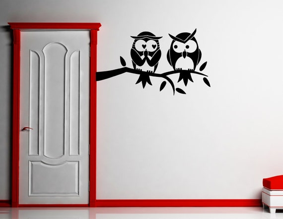 Owl wall decal owls on a branch sticker