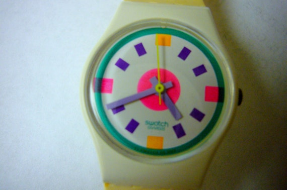 Wrist Watch Wristwatch Swatch SALE THIS WEEK Colorful 1980s Unique and Fun Rare Collectable