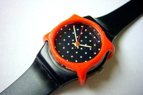 Wristwatch Wrist Watch SWATCH dots watch Rare Ebauche Swiss Movement Collectable with Guard