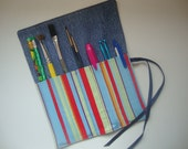 Striped Roll-up Organizer with Ribbon Closure - Upcycled Denim - Tote Pencils, Pens, Tools, Markers and More (RU5)
