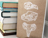 handprinted moleskine journal-bear, bird and sheep skull, LARGE
