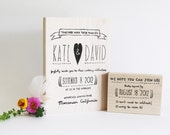 "Whimsical Heart Wedding Invitation and RSVP stamp, 5""x7"""