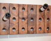 House Warming Wine Rack Horizontal Antique Riddling Style Wall Hanging (Walnut)