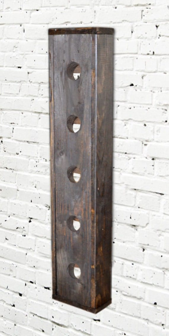 Wine Rack Modern Reclaimed Look Wood Wall Hanging With Trim (Espresso)
