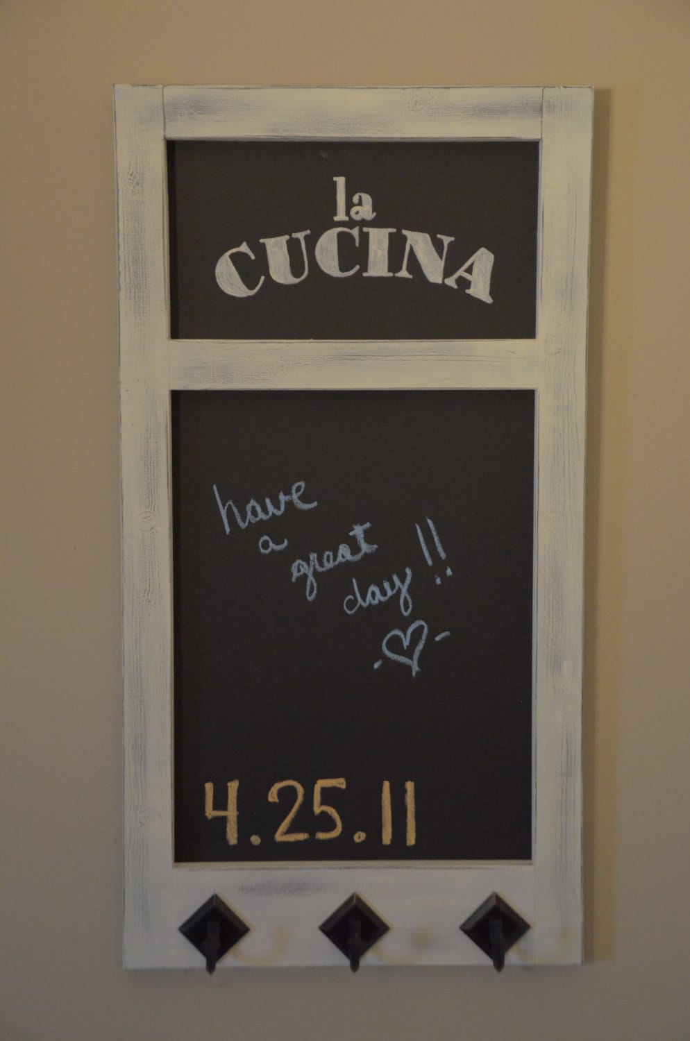 Wood Framed Kitchen Chalkboard With Hooks