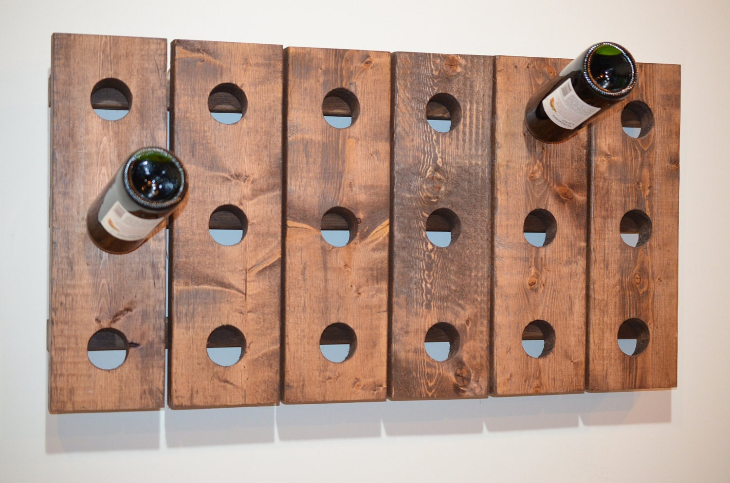 Wine rack riddling horizontal wood wall hanging walnut Hanging wooden wine rack