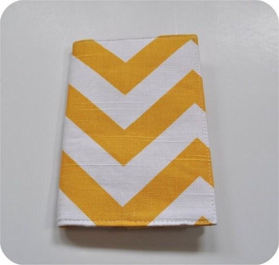Ready to Ship - Daffodil Yellow and White Chevron Fabric Passport Cover. Yellow and White Zigzag Passport Case.
