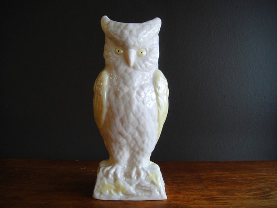 Belleek Owl Vase Vintage Irish Porcelain Yellow And White