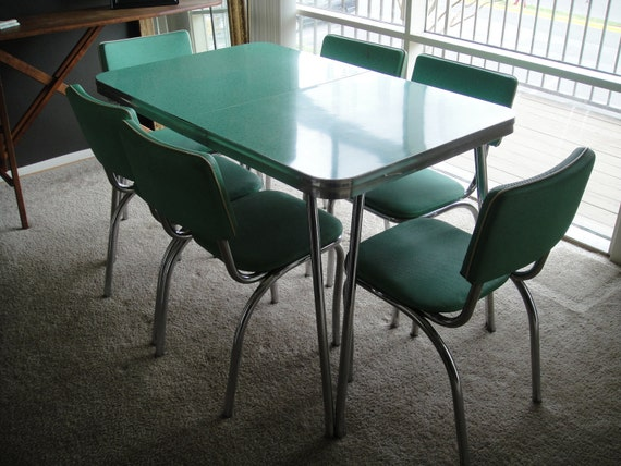 Reserved 1950s kitchen table and chairs mint dining set with for Kitchen table only