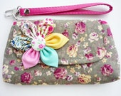 PROMOTION Buy 3 Get 1 FREE Vintage Green Floral with Cover Cotton Case for Mobile Phone iphone Coin Key etc.