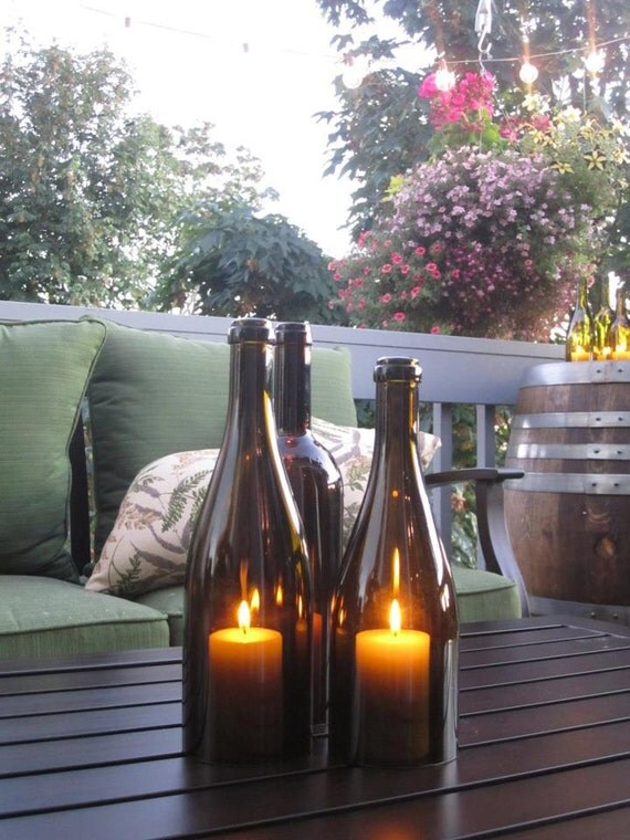 Glass Wine Bottle Candles (Set of 3)