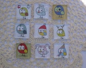 Holiday and Birthday Themed Little Birdies Glass Refrigerator Locker Message Board Magnets or Push Pins