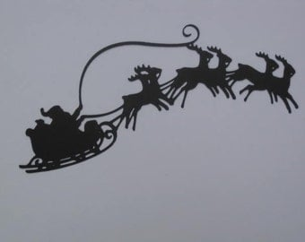 Small Silhouette Santa's Sleigh in Flight Die Cut for Christmas Scrapbooking Embellishments