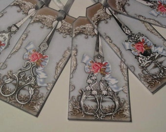 Vintage Scissors and Roses Gift Hang Tag Set - Scrapbook Embellishment