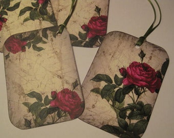 Vintage Red Roses Gift Hang Tag Set - Scrapbook Embellishment