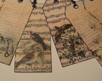 Vintage Style Birds and Sheet Music Gift Hang Tag Set - Scrapbook Embellishment