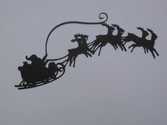Small Silhouette Santa's Sleigh in Flight Die Cut for Christmas ...