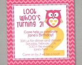Look Who Owl Birthday Invitation