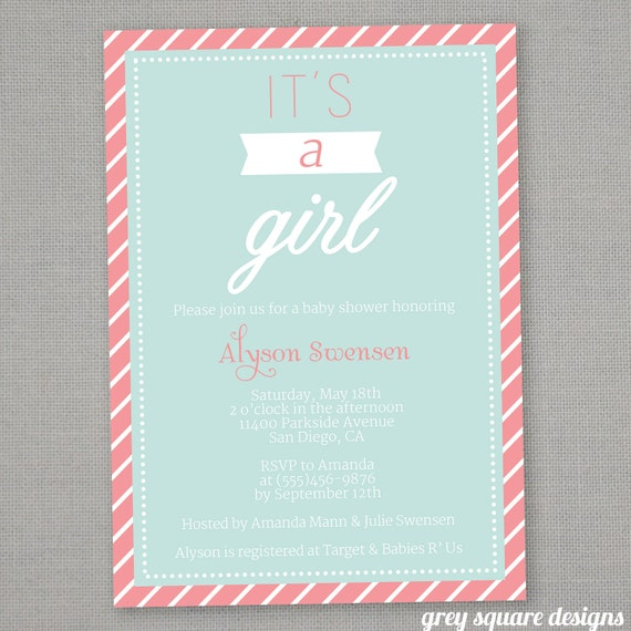 It's a Girl-Baby Shower Invitation