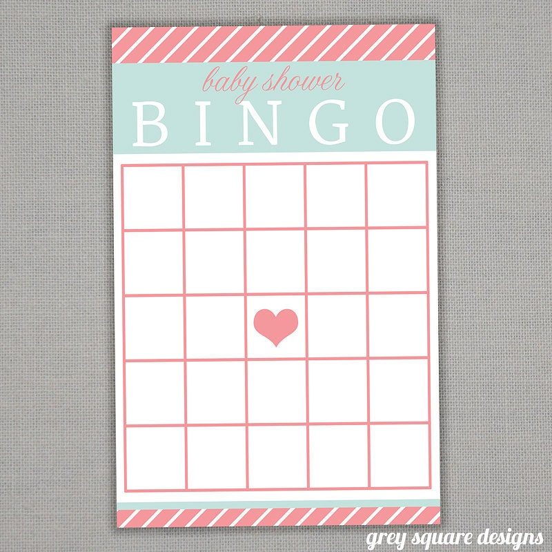baby shower bingo game printable pdf file by greysquare on etsy