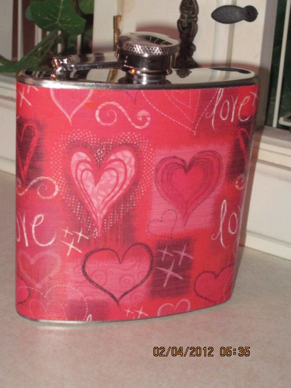Hearts and  Love  6 oz. Stainless Steel Hip Flask