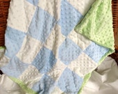 """Blue and White Checked Minky Blanket 34""""x28"""""""