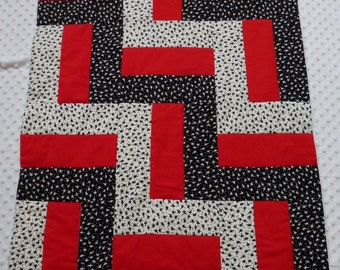 Black and White and Red All Over Star Fence Rail Quilt