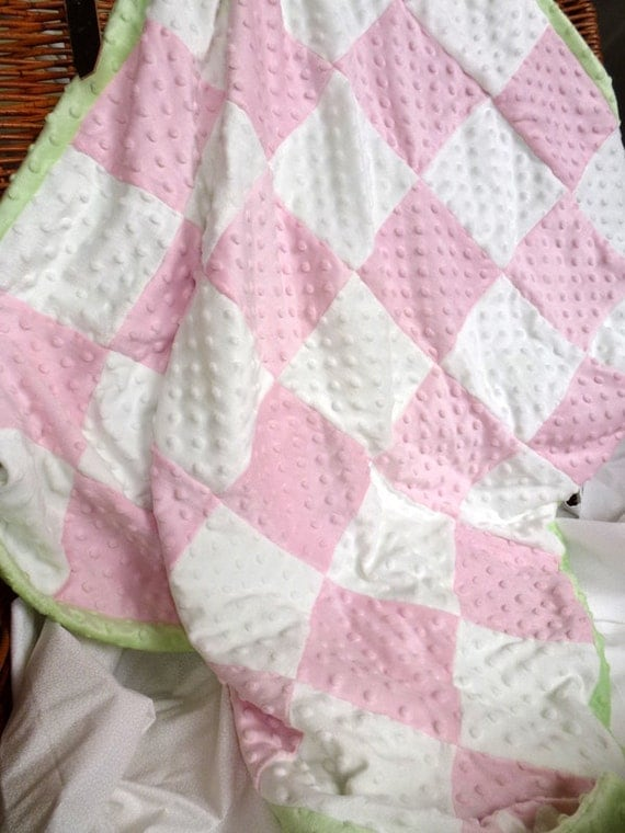 """SALE-Pink and White Checked Minky Blanket 34""""x39"""""""
