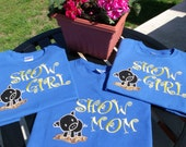 SHOW MOM Pig w/ BLING Attitude..... Personalized Applique & Embroidered Womens Shirt