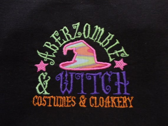 ABerZoMbiE & WiTCh- Girls Hand Appliqued and Machine Embroidered Halloween Shirt
