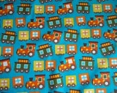 Ready Set Go By Ann Kelle Certified Organic Trains in Lake 2 yards organic quilt fabric