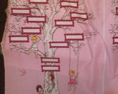 Family tree Panel light pink in color on white Children at Play by Sara Jane for Michael Miller Fabrics 1 yard cotton quilt fabrc