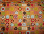 1/2 yard cut  Vintage style Sewing accesories scissors, buttons, threads, thimbles 1/2 or 1 yard total cotton quilt fabric