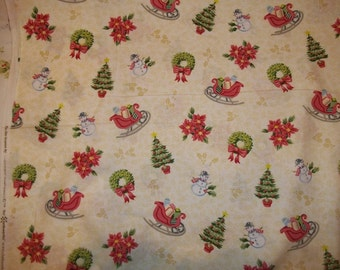 Beautiful Christmas print sleds and trees in winter from Clothworks 1 yard of 100 percent cotton fabric