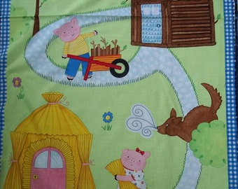 3 Little Pigs Panel by Timeless Treasure Fabrics 1 Panel licensed cotton quilt fabric print