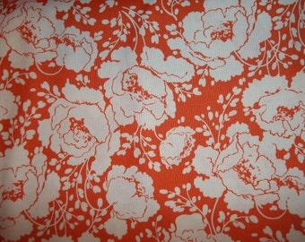 Beautiful Retro Loooking  Floral Print on orange back ground by Tanya Whelan for Free Spirit Fabrics 1 yard licensed print