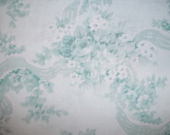 Beautiful rose with ribbon Print Scarborough Fair by Robyn Pandolph turquoise for RJR 1/2 or 1 yard  cotton quilt fabric