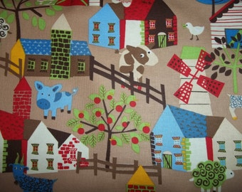 Village By Timeless Treasures Fabrics  1 yard licensed print chickens fox, owls, house, barn and many more