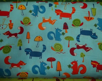 Animal Party Too By Amy Schimler For Robert Kaufman Fabrics 1/2 or yard  cotton quilt fabric fox, owls, and squirels on Blue