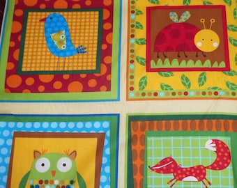 Panel for Animal Party Too By Amy Schimler For Robert Kaufman Fabrics 1 panul cotton quilt panel fox, owls, and squirels on Blue