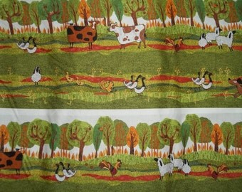 Fun and Bright Squirels geese, cows and birds with trees and grass in back ground from P and B Fabrics 1 yard licensed print