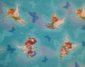 Tinker Bell and Fairy Friend on Blue  back ground From Springs Fabrics 1 yard Licensed Print cotton quilt fabric